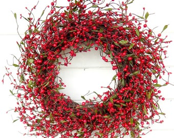 Christmas Wreath-Winter Wreath-Holiday Wreath-Christmas Door Wreath-RED Berry Wreath-Rustic Christmas Wreath-Holiday Home Decor-Gift for mom