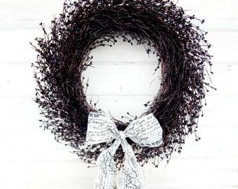 BLACK Wreath-Elegant Home Decor-Black & White Decor-Front Door Wreaths-Black Home Decor-Custom Wreaths-Choose Scent and Ribbon