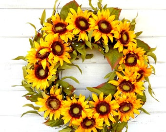 Spring Wreath-Summer Wreath-Fall Wreath-SUNFLOWER Wreath-SCENTED Wreaths-Gift for Mom-Yellow Wreath-Country Home Decor-Housewarming Gift