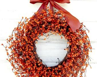 Fall Wreath-Fall Door Wreaths-SCENTED Pumpkin Spice-Orange Berry Wreath with Mini Pumpkins-Autumn Door Wreath-Fall Wreath-Custom Made Gifts