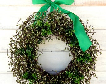 St. Patricks Day Wreath-LUCK OF the IRISH-Spring Door Wreath-Rustic Wreath-Green Berry Wreath-Scented Door Wreaths-Spring Home Decor-Gifts