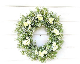 Weddings-Wedding Decor-Wedding Wreath-Baby's Breath Wreath w/ Ranunculus-Gypsophila-Cottage Decor-Vintage Farmhouse-White Wreath-Floral