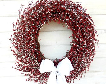 4th of July Wreath-Summer Door Wreath-Holiday Wreaths-Summer Home Decor-Large Red & White Wreath-Scented Wreaths-Custom Made Gifts