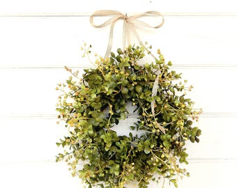 Farmhouse Wreath-Fall Wreath-MINI Window Wreath-Eucalyptus Wreath-Fixer Upper-Farmhouse Decor-Boxwood Wreath-Wall Decor-Small Wreath-Gifts