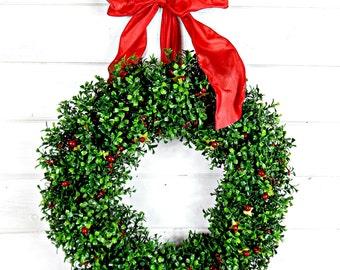 Valentine Wreath-Winter Wreath-Christmas Boxwood Wreath-Christmas Wreaths-RED BERRY Wreath-Holiday Decor-Boxwood Wreath-Outdoor Wreath-Gifts