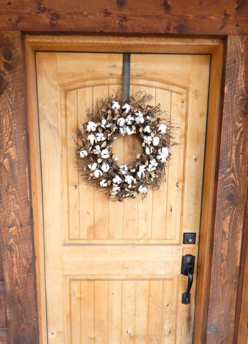 Farmhouse Wreath-Cotton Wreath-Fixer Upper Decor-Rustic image 0