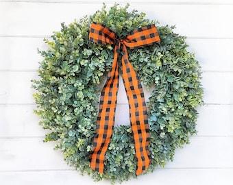 Farmhouse Wreath-Farmhouse Decor-Frosted EUCALYPTUS Wreath-Buffalo Plaid-Fall Wreath-Winter Wreath-Door Wreath-Home Decor-Housewarming Gift