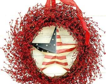 Summer Wreaths-PATRIOTIC Door Wreath-July 4th Wreath-Summer Decor-4th July Wreath-Holiday Wreath-USA Door Wreath-Military Wreath-Gifts