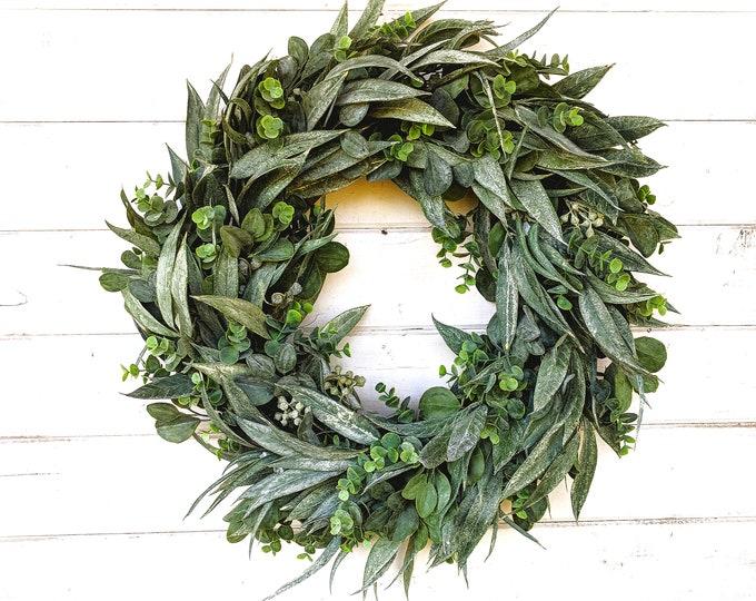 Featured listing image: Fall Wreath-Summer Wreath-Greenery Wreath-Farmhouse Wreath-California Eucalyptus-Outdoor Wreath-Farmhouse Decor-Housewarming Gift-Wreaths