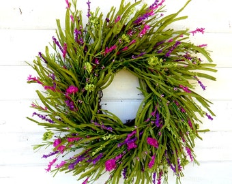 Summer Wreath-Summer Home Decor-PURPLE WILDFLOWERS-Twig Wreath-Farmhouse Decor-Spring Wreath-Country Home Decor-Gift For Mom-Door Wreath