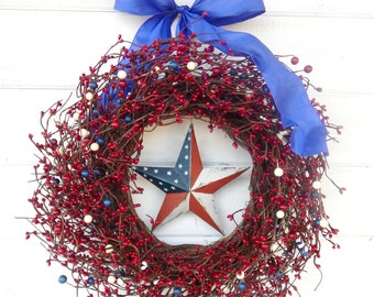 Summer Wreath-RED  WHITE & BLUE Wreath-Summer Door Wreath-Door Decor- Patriotic Home Decor-Military Gift-Usa Wreath-July 4th Decor-Gifts