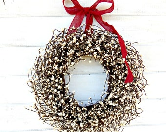 Winter Wreaths-Valentines Day Wreath-Holiday Home Decor-WHITE BERRY Wreath-Year Round Wreath-Housewarming Gift-Christmas Door Decor-Gifts