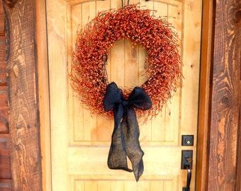 Fall Wreath-Halloween Door Wreath-Burlap Wreath-LARGE ORANGE & BLACK Wreath-Primitive Wreath-Halloween Home Decor-Custom Made Gifts-