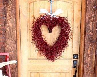 Valentines Day Wreath-Heart Wreath-Wedding Decor-Wedding Wreath-Valentines Wreath-Valentines Day Decor-LARGE RED HEART Wreath-Valentines Day