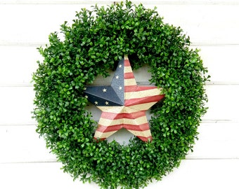 Patriotic Wreath-Boxwood Wreath-Summer Wreath-4th of July Wreath-BOXWOOD-Door Wreath-Patriotic Door Wreath-Large Door Wreath-Holiday Decor