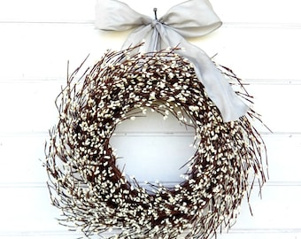 Winter Wreath-Christmas Wreath-Holiday Home Decor-GRAY & ANTIQUE WHITE Wreath-Wedding Decor-Scented Wreaths-Housewarming Gift-Wedding Decor