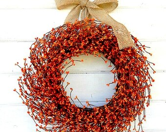Fall Wreath-Fall Door Wreath-Thanksgiving Wreath-Burlap Wreath-BURNT ORANGE Berry Wreath-Thanksgiving Decor-Autumn Decor-Scented Wreath  sc 1 st  Etsy & Fall Wreath-Fall Door Wreaths-LARGE YELLOW Wreath-YELLOW Berry