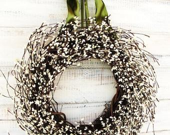 Spring Wreath-Summer Wreath-Spring Door Wreaths-Wedding Decor-VICTORIAN COUNTRY COTTAGE-Antique White Wreath-Home Decor-Housewarming Gift
