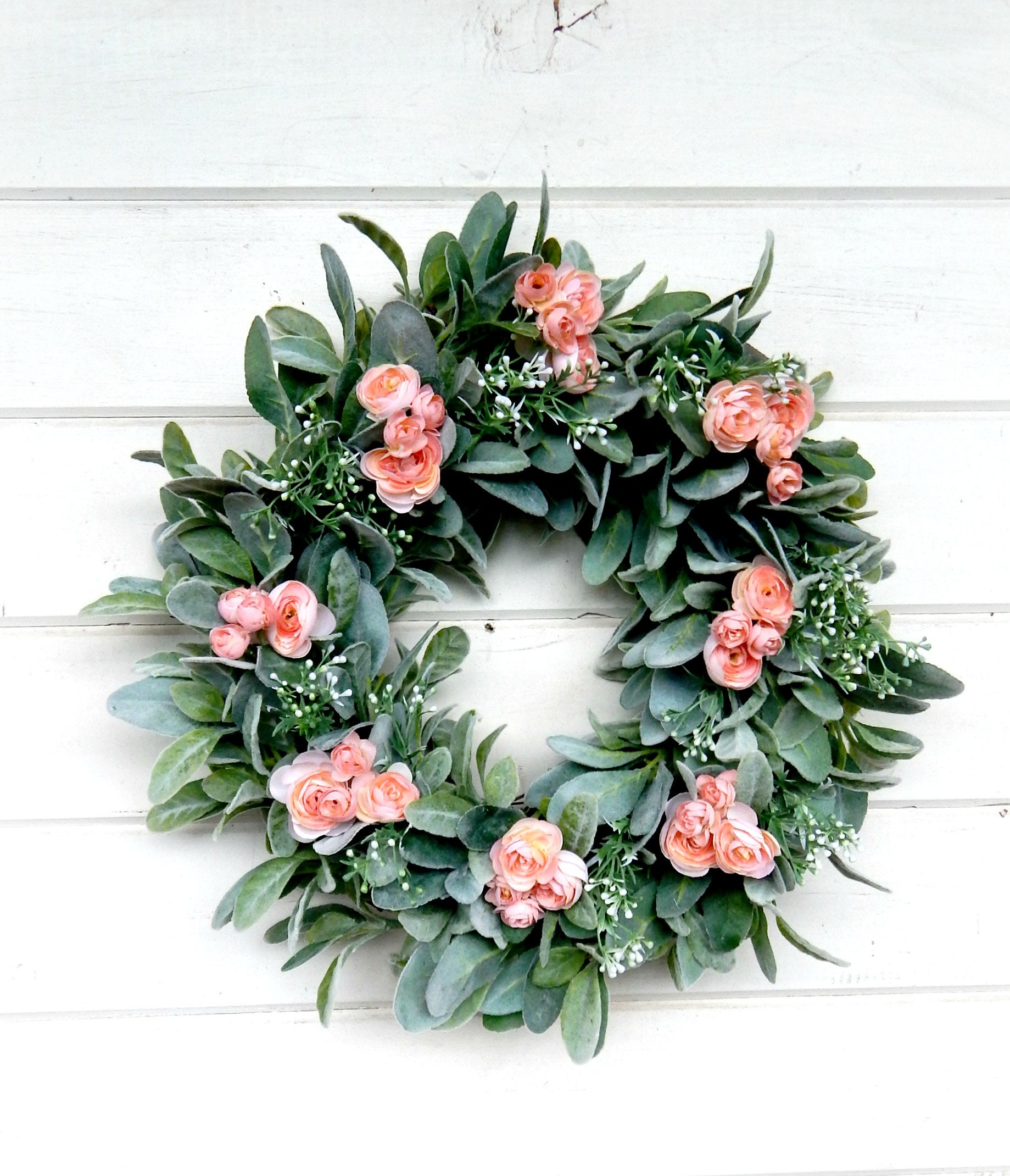 Farmhouse Wreath Lambs Ear Wreath Ranunculus Wreath Fixer Upper Decor Farmhouse Decor Housewarming Gift Greenery Wreath Wreaths Home Decor