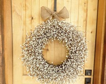 Summer Wreath-Fall Wreath-Large Wreaths-EXTRA FULL-LARGE Antique White Door Wreath-Fireplace Wreath-Wedding Wreath-Housewarming Gift