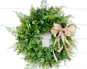 BOXWOOD Wreath-FERN Wreath-Fall Wreath-Farmhouse Decor-SCENTED Wreath-Outdoor Wreath-Year Round Wreath-Rustic Home Decor-Custom Made Gifts