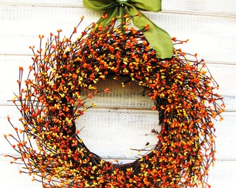 Fall Wreath-Fall Decor-Autumn Wreath-ORANGE & YELLOW Wreath-Fall Door Décor-Thanksgiving Wreath-Fall Farmhouse Decor- Door Wreaths-Gifts