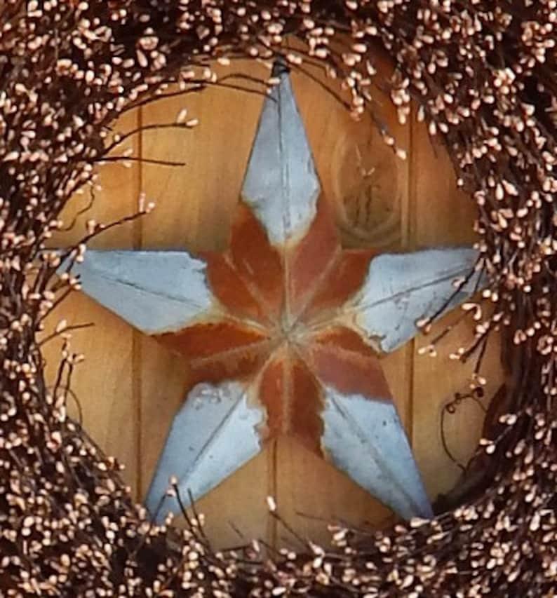 Primitive Rustic Wreath-Fall Door Wreath-Star Wreath-Primitive Door Wreath-LARGE Brown Berry Wreath-Primitive Country Decor-Texas Star Decor