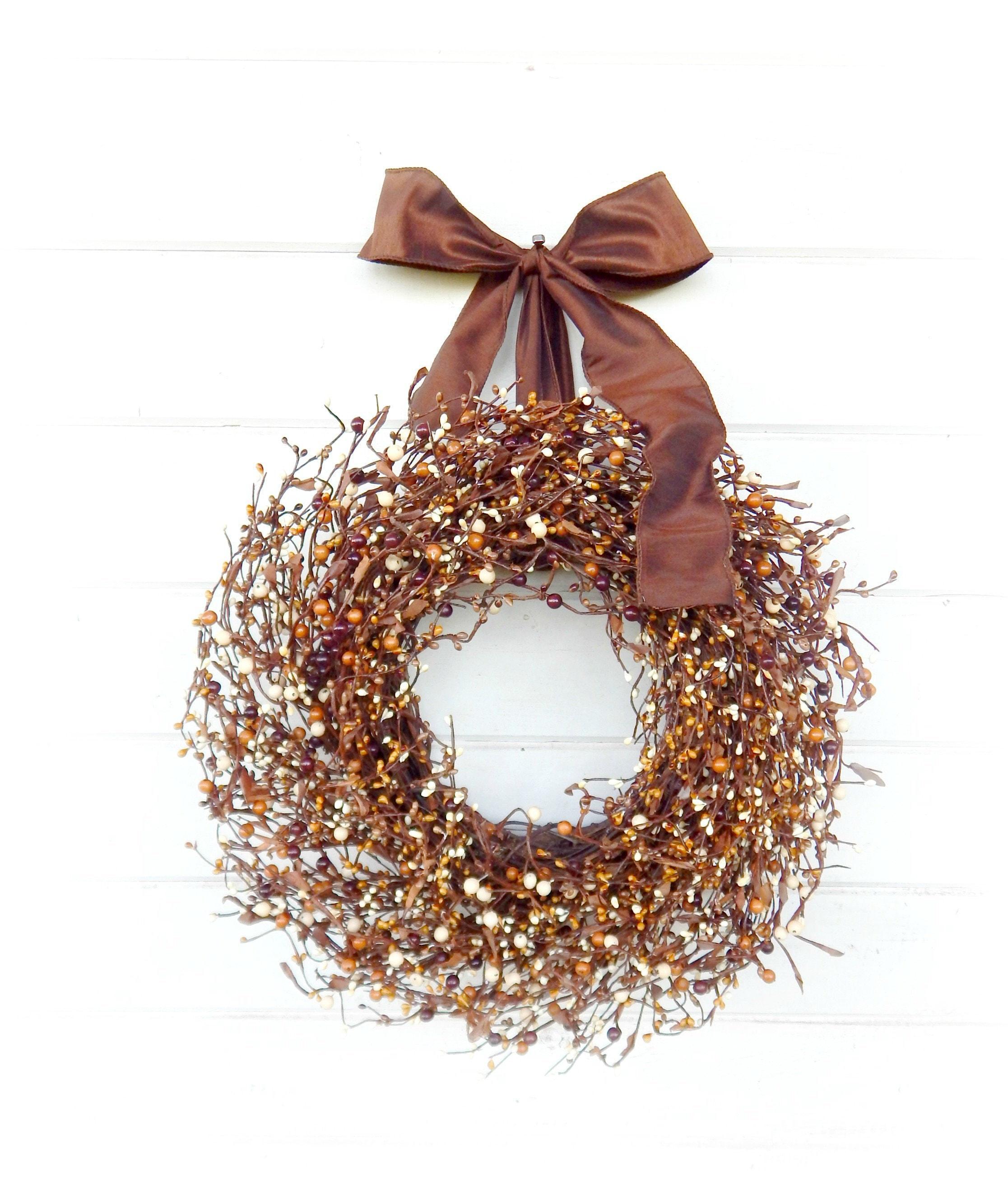 Home Decor Wreaths: Fall Wreath-Fall Decor-Brown Wreath-Rustic Home Decor