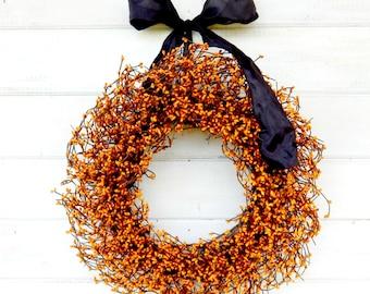 Fall Wreath-Halloween Wreath-Fall Door Wreath-ORANGE Berry Wreath-Fall Farmhouse Wreath-Fall Home Decor-Thanksgiving Decor-Housewarming Gift