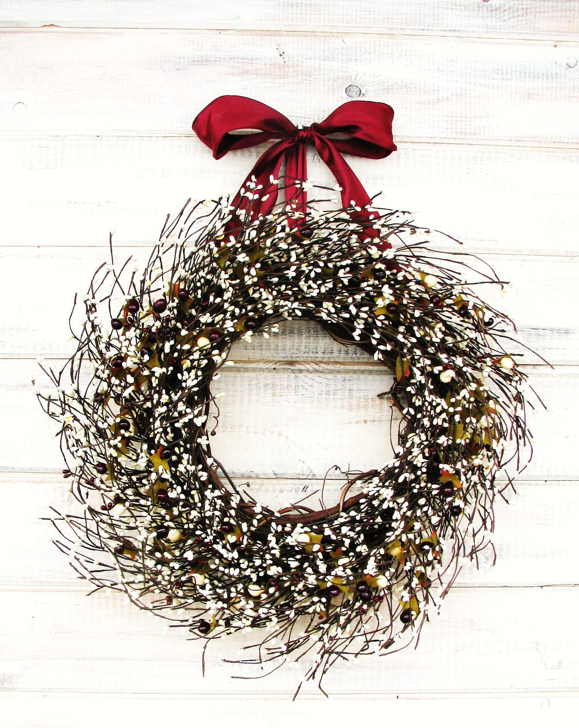 Summer Wreaths Summer Door Wreath Rustic Home Decor Cranberry Antique White Wreath Vintage Weddings Gift For Mom Scented Wreath Gifts