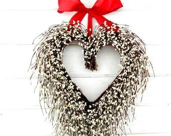 Valentines Day Wreath-Valentine Day Decor-Valentine Door Wreath-Summer Wedding-Anniversary Gift-White Heart Wreath-Rustic Wedding Decor-Gift