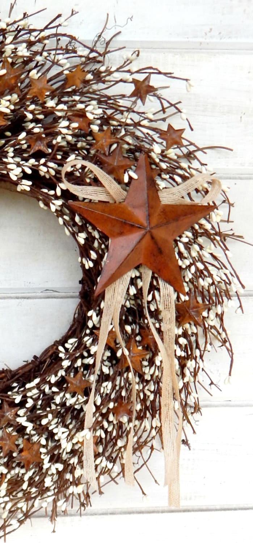 Rustic Wreath Fall Wreath Primitive Decor Star Wreath Fall