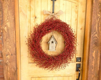 Summer Door Wreath-RED BIRDHOUSE Wreath-Burlap Wreath-Country Chic Home Decor-Red Berry Wreath-Scented Wreath-Choose Scent and Ribbon