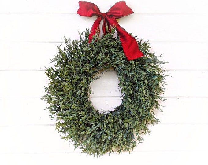 Featured listing image: Farmhouse Decor-Farmhouse Wreath-Christmas Wreath-Greenery Wreath-Outdoor Wreath-Farmhouse Christmas Decor-Holiday Wreath-Holiday Home-Gifts