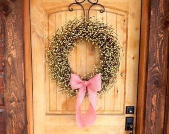 Spring Door Wreath-Easter Wreath-PINK BURLAP & YELLOW Wreath-Large Berry Wreath-Spring Door Wreath-Country Home Decor-Custom-Choose Scent