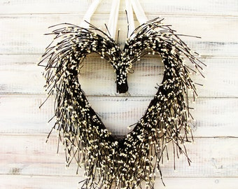Wedding Wreath-Wedding Decor-Vinatage Wedding-Weddings-Summer Wedding Wreath-Heart Wreath-Wedding-WHITE HEART Wreath-Farmhouse Wedding