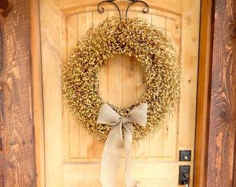 Fall Door Wreath-Fall Wreaths-LARGE BURLAP Wreath-YELLOW Berry Wreath-Summer Wreaths-Fall Home Decor-Thanksgiving Wreath-Custom Made Gifts
