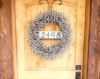 Summer Wreath-White Wreath-Door Sign-House Number Wreath-Outdoor Wreath-Year Round Wreath-Cottage Home Decor-Artificial Wreath-Made USA