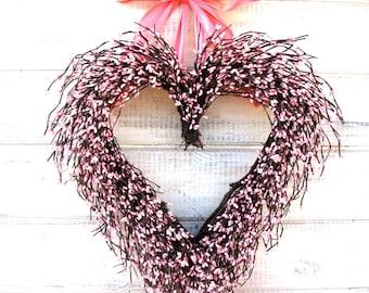 Valentines Day Wreath-Valentines Day Decor-Heart Wreath-Pink Wreath-Wedding Decorations-Baby Nursery Decor-PINK Heart-Valentine Wreath