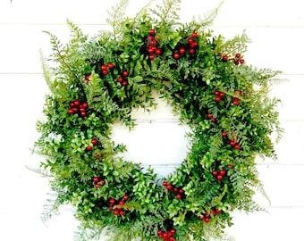 Valentines Day Wreath-Valentine Wreath-BOXWOOD Wreath-Farmhouse Decor-Winter Door Wreath-Holiday Wreath-Outdoor Wreath-Year Round Wreath