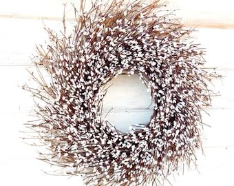 Winter Wreath-Winter Home Decor-Christmas Wreath-Farmhouse Wreath-Year Round Wreath-Wedding Decor-WHITE TWIG Wreath-Rustic Twig Wreath