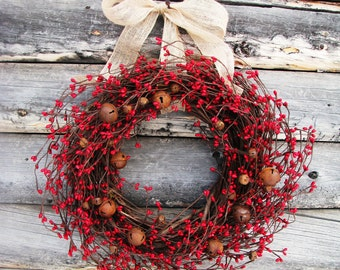 Christmas Wreath-Farmhouse Christmas-Rustic Bell Wreath-RUSTY Bell Wreath-Red Wreath-Primitive Farmhouse Decor-Christmas Decor-Gift