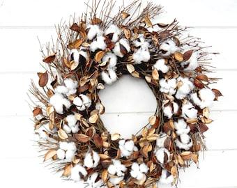 Farmhouse Wreath-Cotton Wreath-Fixer Upper Decor-Rustic Farmhouse Decor-Front Door Wreath-Rustic Wreaths-Summer Wreath-Fall Wreath-Gifts