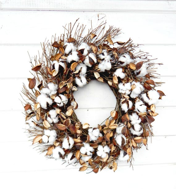 Gifts For A Farmhouse Decor Fan: Farmhouse Wreath-Cotton Wreath-Fixer Upper Decor-Rustic