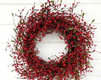 Summer Wreath-Farmhouse Decor-Door Wreath-Winter Wreath-Holiday Wreath-Wreath for Fireplace-Wreath-RED Berry Wreath-Holiday Home Decor-Gifts
