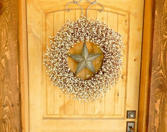 Summer Wreath-LARGE Star Wreath-SILVER & ANTIQUE White Barn Star Door Wreath-Wedding Gift-Large Wreath-Texas Star Decor-Custom Made Gifts