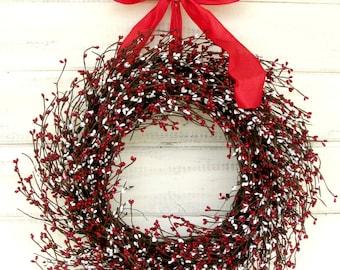 Summer Wreath-Summer Door Wreaths-4th of July Wreath-RED & WHITE Door Wreath-Patriotic Decor-Holiday Wreath-Summer Home Decor-Scented Wreath