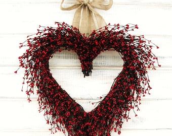 Wedding Heart Wreath-Wedding Decor-Mothers Day Gift-RED HEART WREATH-Wedding Gift-Housewarming Gift-Valentines Day-Wreath-Custom Gifts