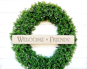 BOXWOOD Wreath-Welcome Wreath-LARGE Boxwood Wreath-Faux Boxwood Door Wreath-Summer Wreath-Fall Wreath-Year Round Wreath-Outdoor Wreath-Gifts
