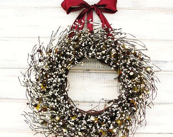 Summer Wreaths-Summer Door Wreath-Rustic Home Decor-CRANBERRY & ANTIQUE WHITE Wreath-Vintage Weddings-Gift for Mom-Scented Wreath-Gifts